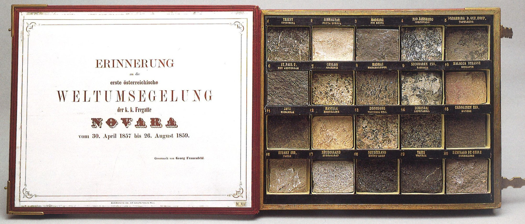 Geschenkskassette mit im Zuge der Weltumsegelung der Fregatte Novara gesammelten Gesteinsproben (© NHM Wien)
